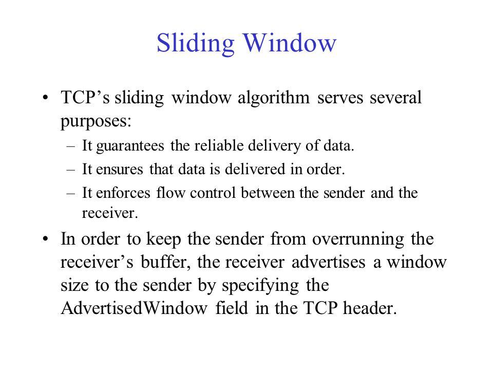 Sliding Window TCP's sliding window algorithm serves several purposes: