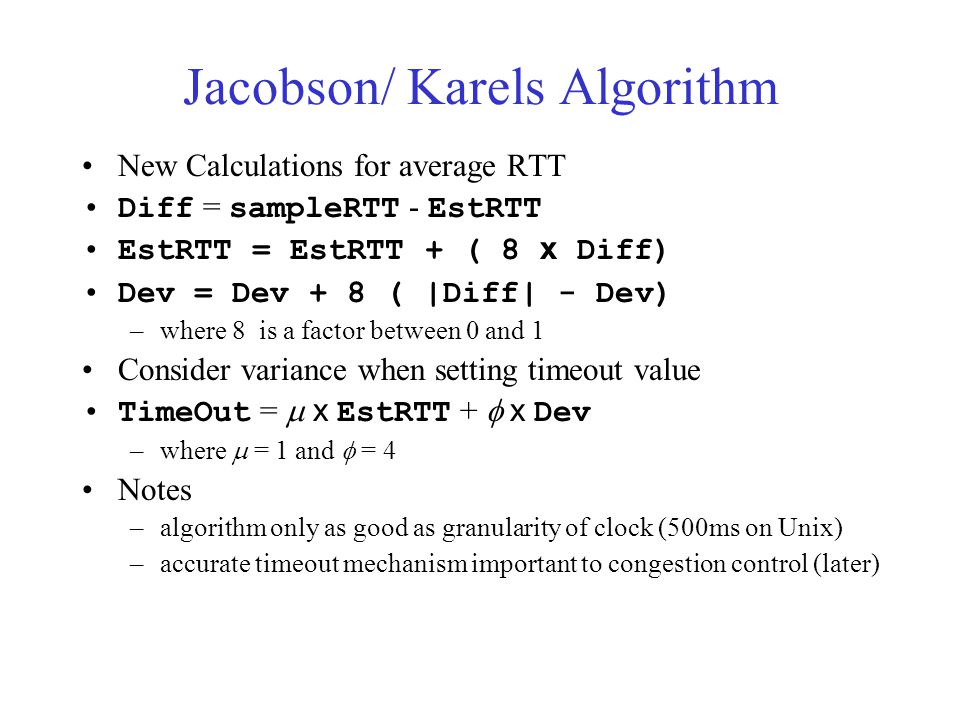 Jacobson/ Karels Algorithm