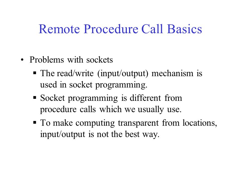 Remote Procedure Call Basics