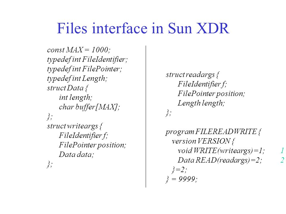 Files interface in Sun XDR