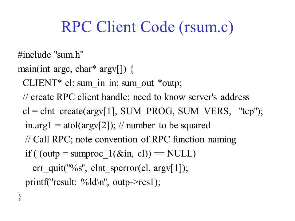 RPC Client Code (rsum.c)