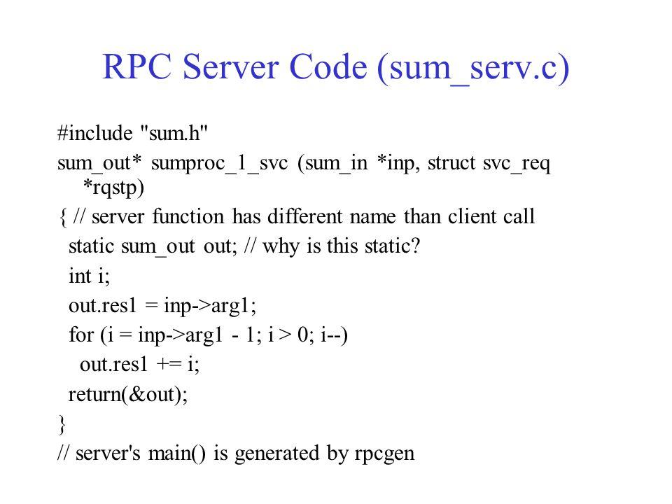 RPC Server Code (sum_serv.c)