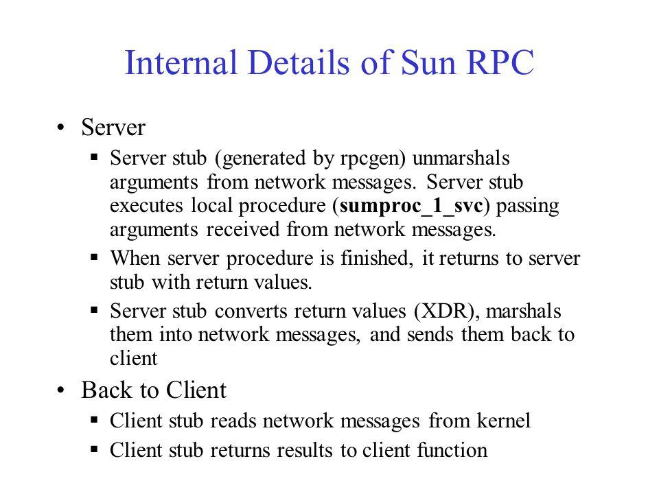 Internal Details of Sun RPC