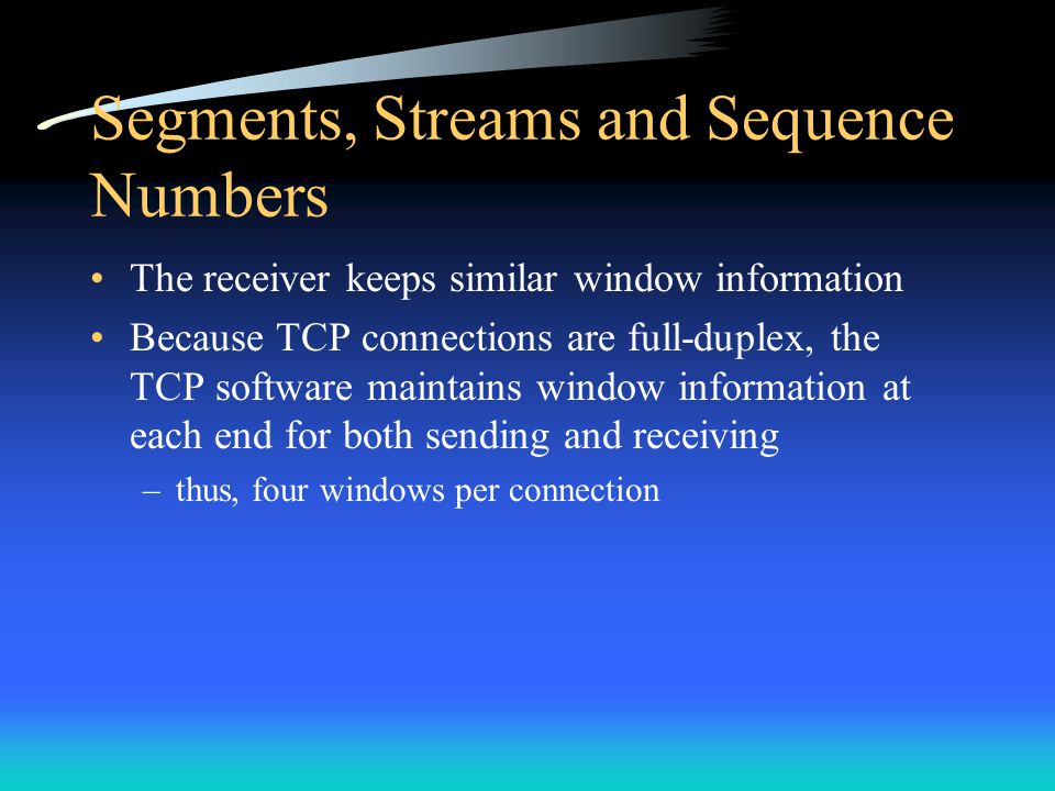 Segments, Streams and Sequence Numbers