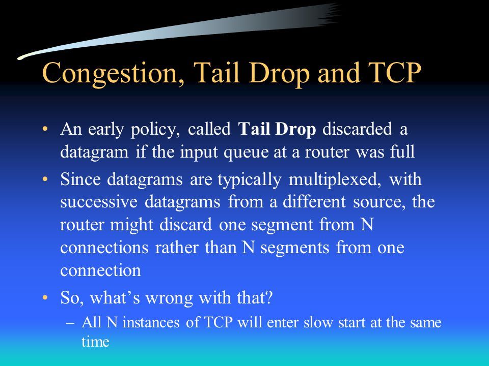 Congestion, Tail Drop and TCP