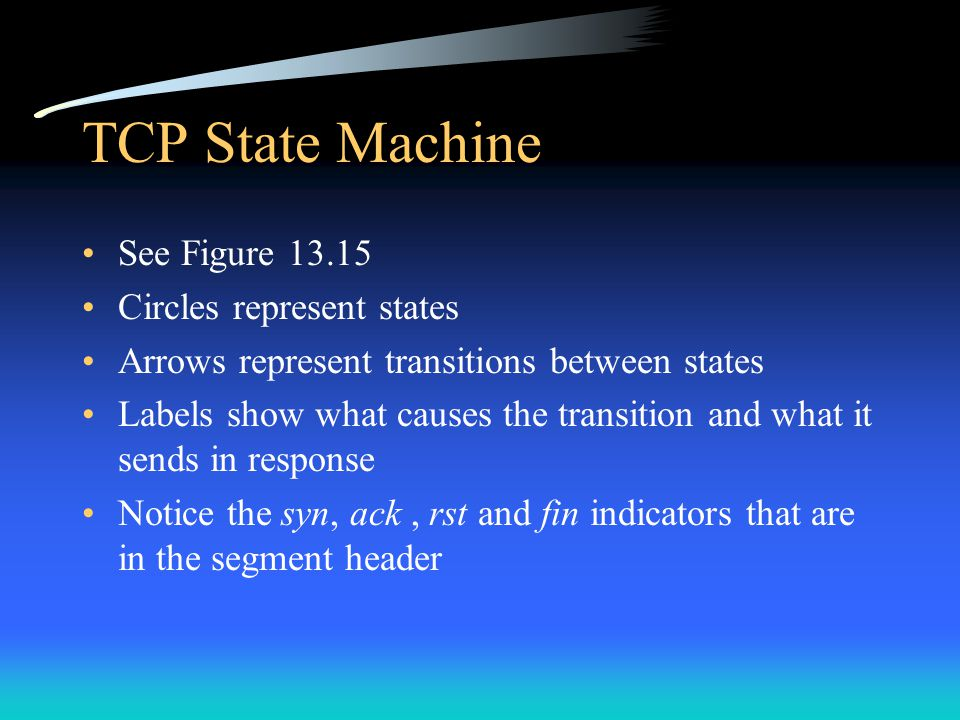 TCP State Machine See Figure 13.15 Circles represent states