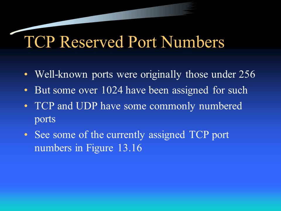 TCP Reserved Port Numbers