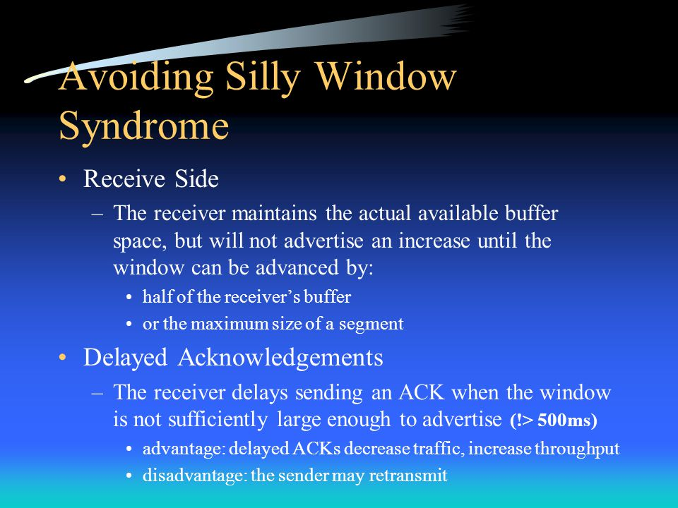 Avoiding Silly Window Syndrome