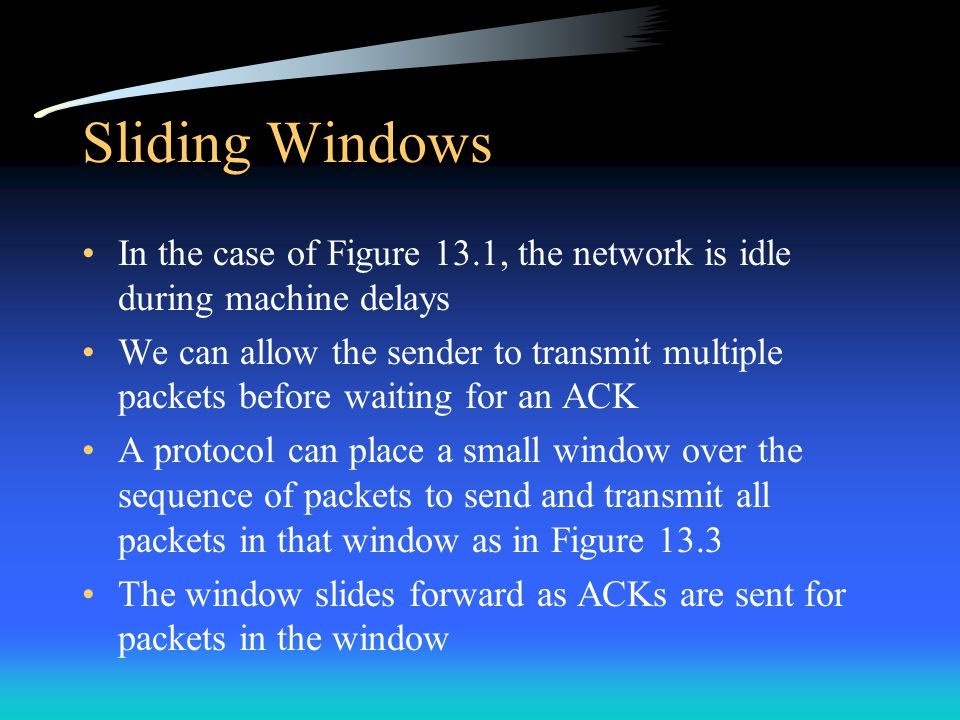 Sliding Windows In the case of Figure 13.1, the network is idle during machine delays.