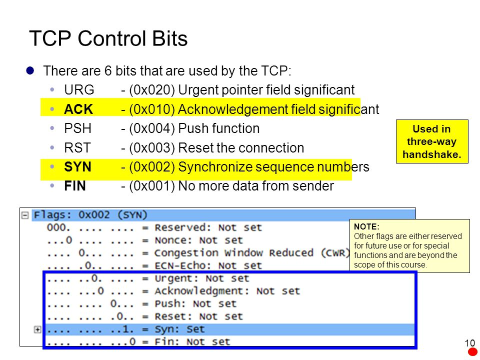 TCP Control Bits There are 6 bits that are used by the TCP: