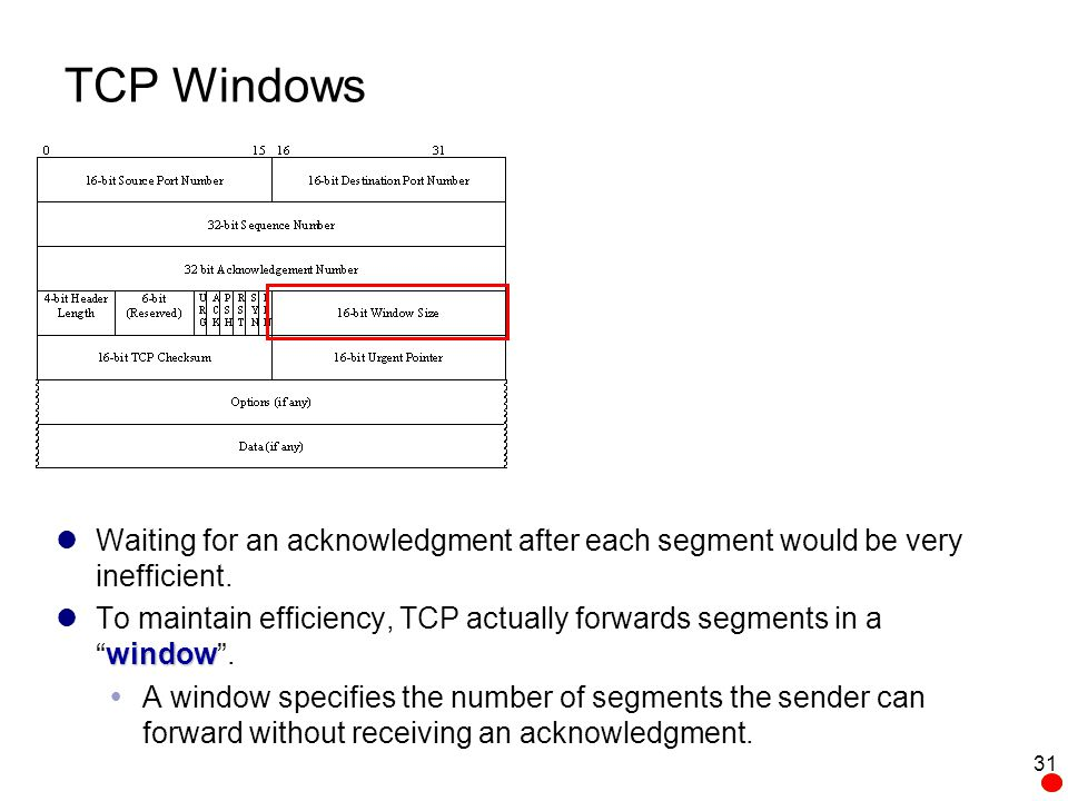 TCP Windows Waiting for an acknowledgment after each segment would be very inefficient.