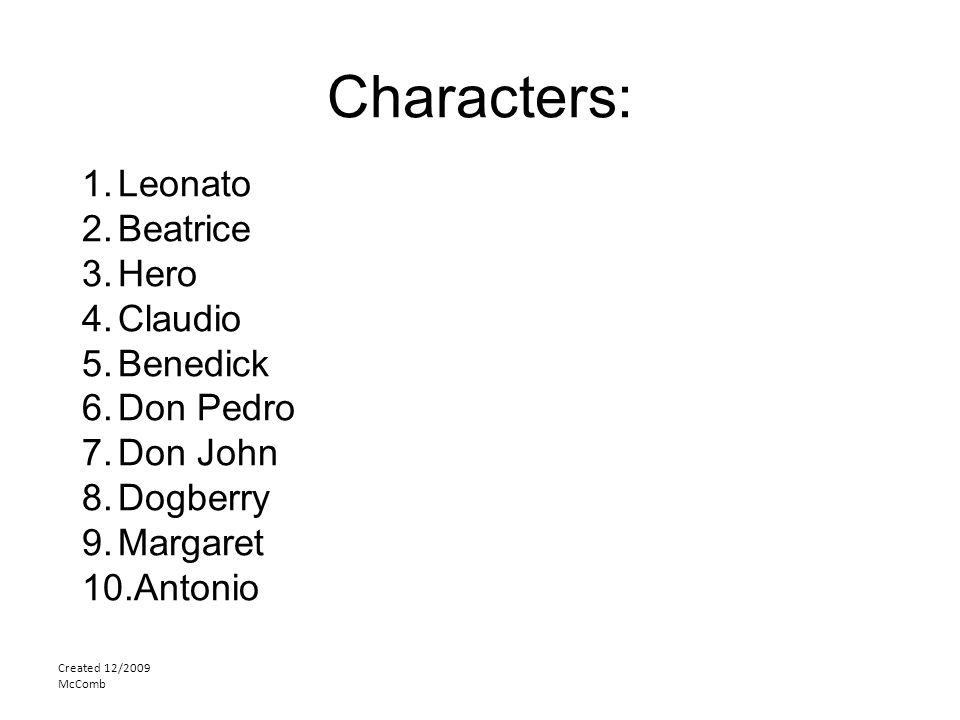 Characters: Leonato Beatrice Hero Claudio Benedick Don Pedro Don John