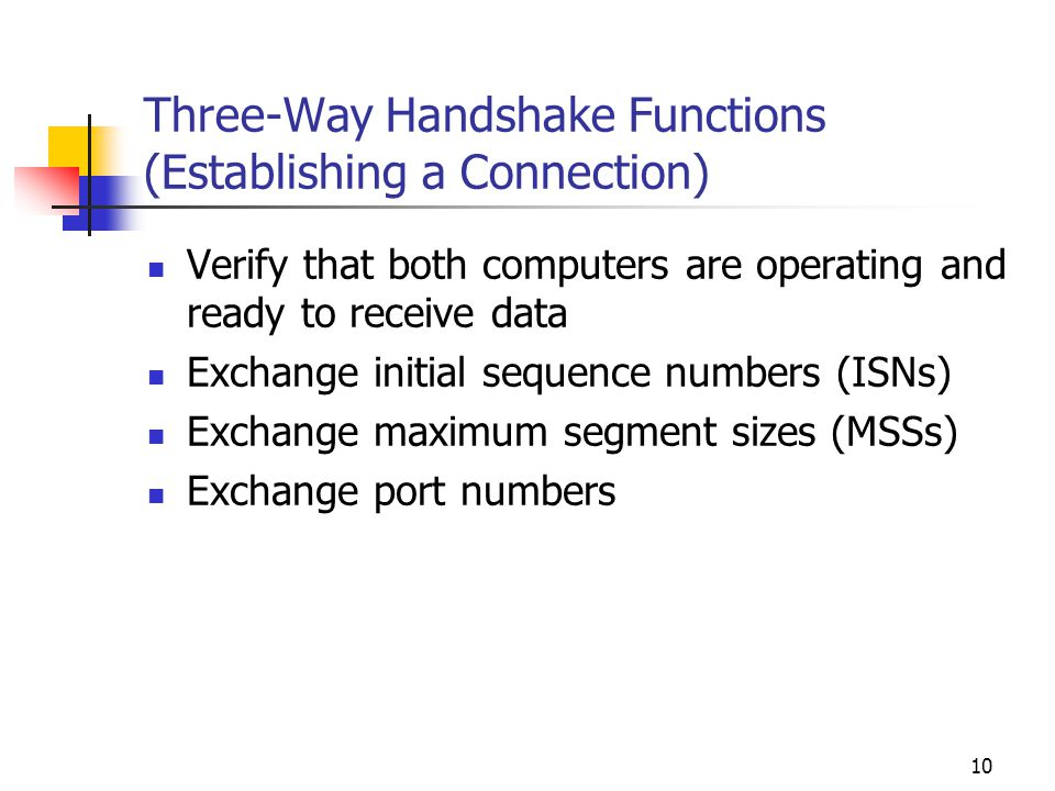 Three-Way Handshake Functions (Establishing a Connection)