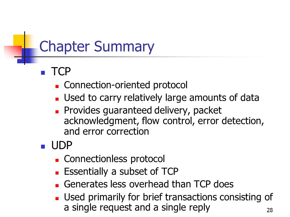 Chapter Summary TCP UDP Connection-oriented protocol