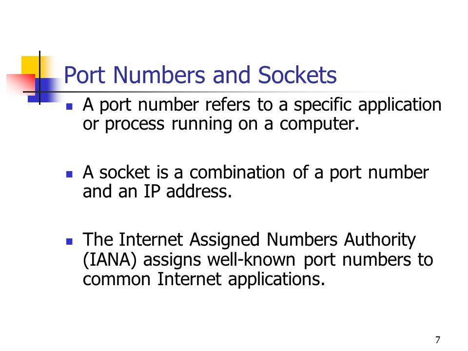 Port Numbers and Sockets