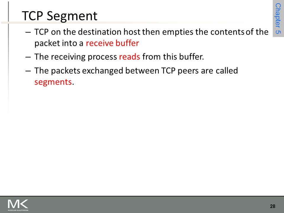 TCP Segment TCP on the destination host then empties the contents of the packet into a receive buffer.