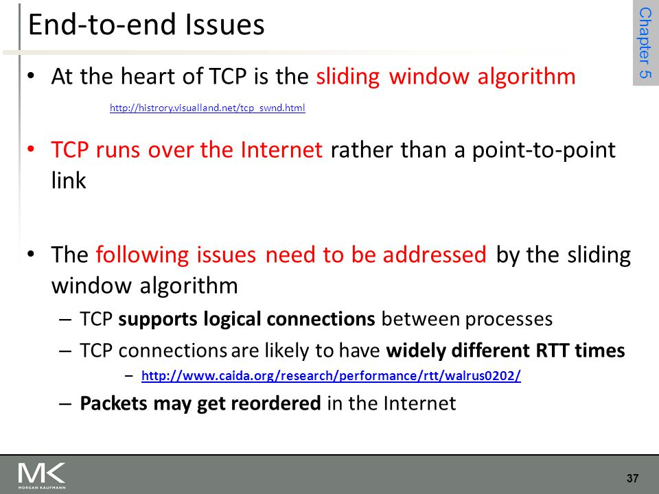 End-to-end Issues At the heart of TCP is the sliding window algorithm