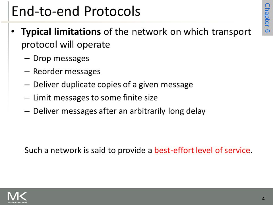End-to-end Protocols Typical limitations of the network on which transport protocol will operate. Drop messages.