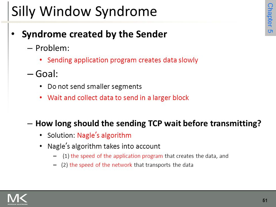 Silly Window Syndrome Syndrome created by the Sender Goal: Problem: