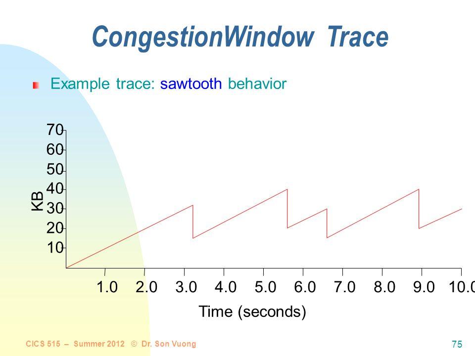 CongestionWindow Trace CICS 515 – Summer 2012 © Dr. Son Vuong