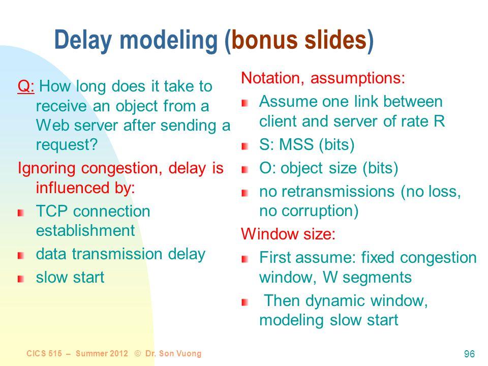 Delay modeling (bonus slides)