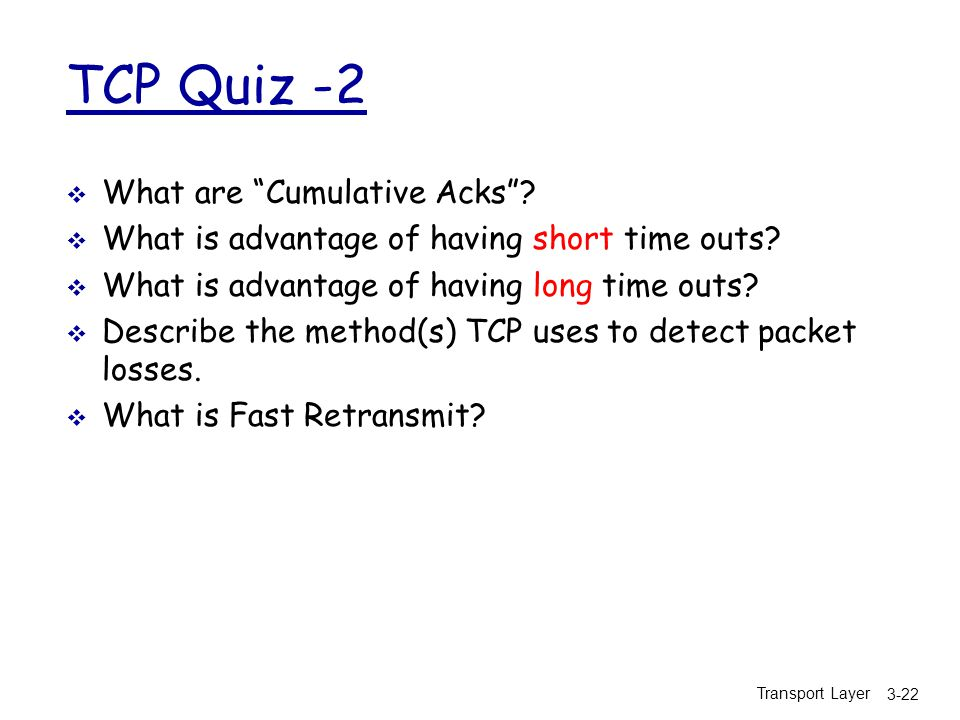 TCP Quiz -2 What are Cumulative Acks