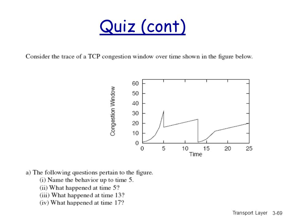 Quiz (cont) Transport Layer
