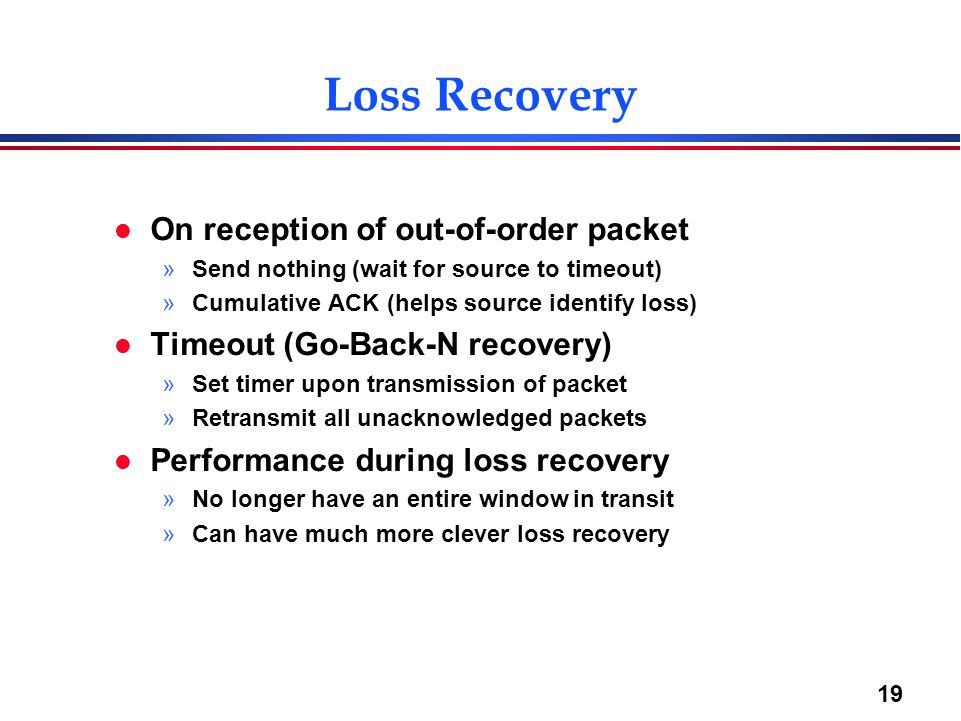 Loss Recovery On reception of out-of-order packet