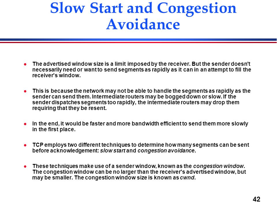 Slow Start and Congestion Avoidance
