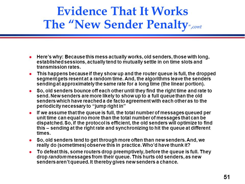 Evidence That It Works The New Sender Penalty ,cont