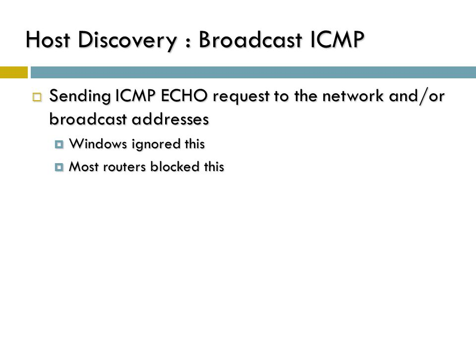 Host Discovery : Broadcast ICMP