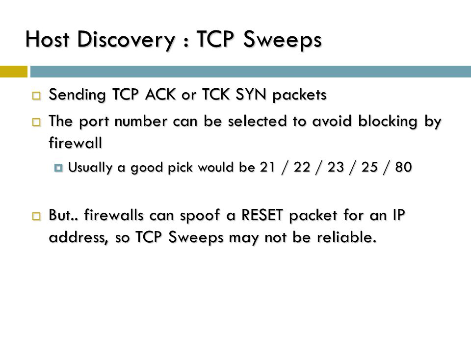 Host Discovery : TCP Sweeps