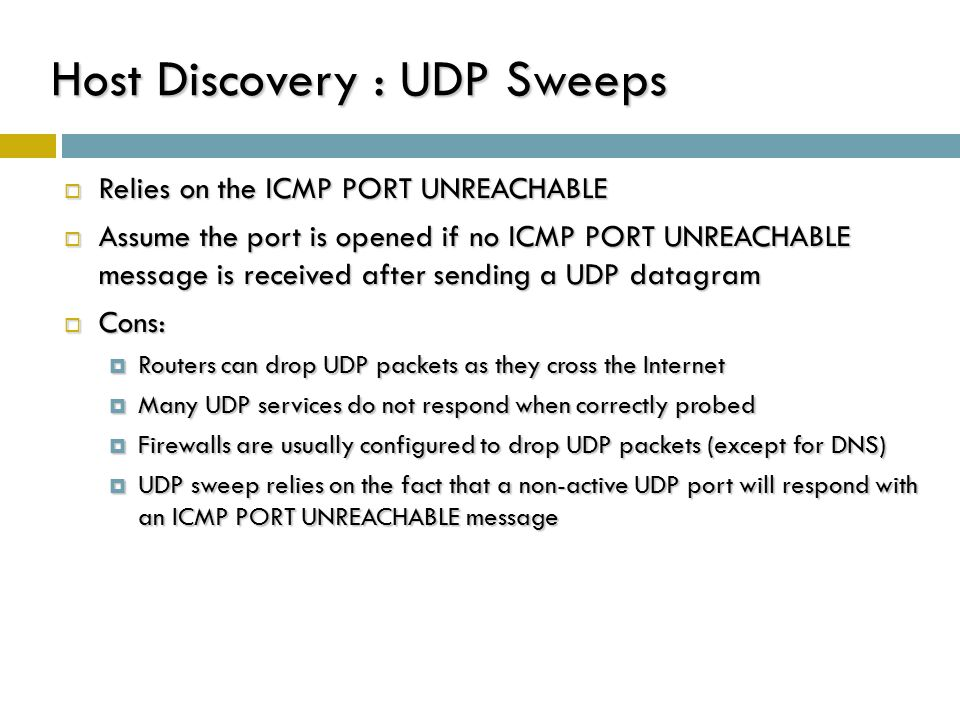 Host Discovery : UDP Sweeps