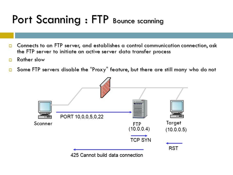 Port Scanning : FTP Bounce scanning