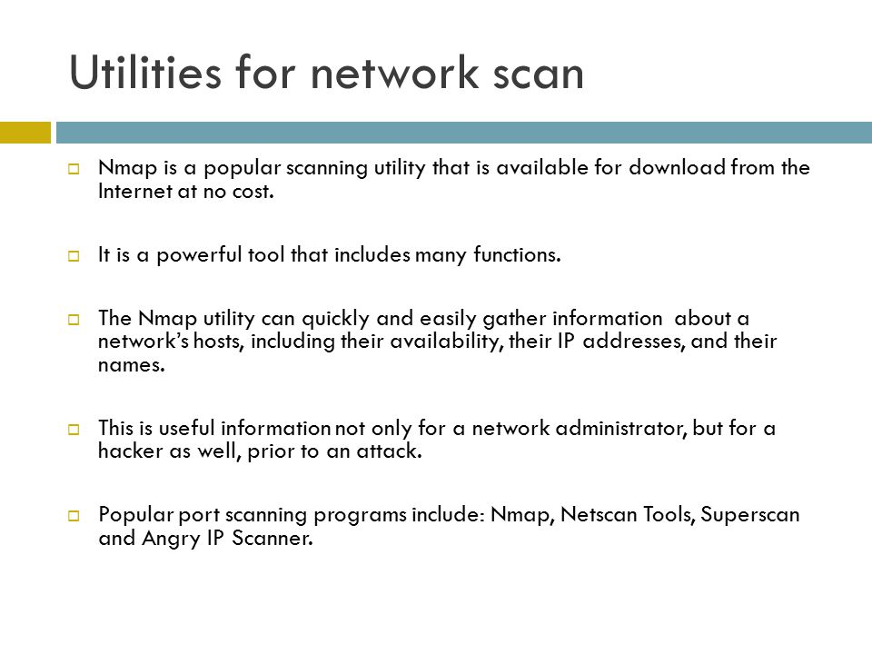 Utilities for network scan