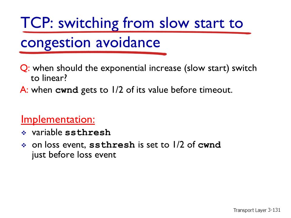 TCP: switching from slow start to congestion avoidance