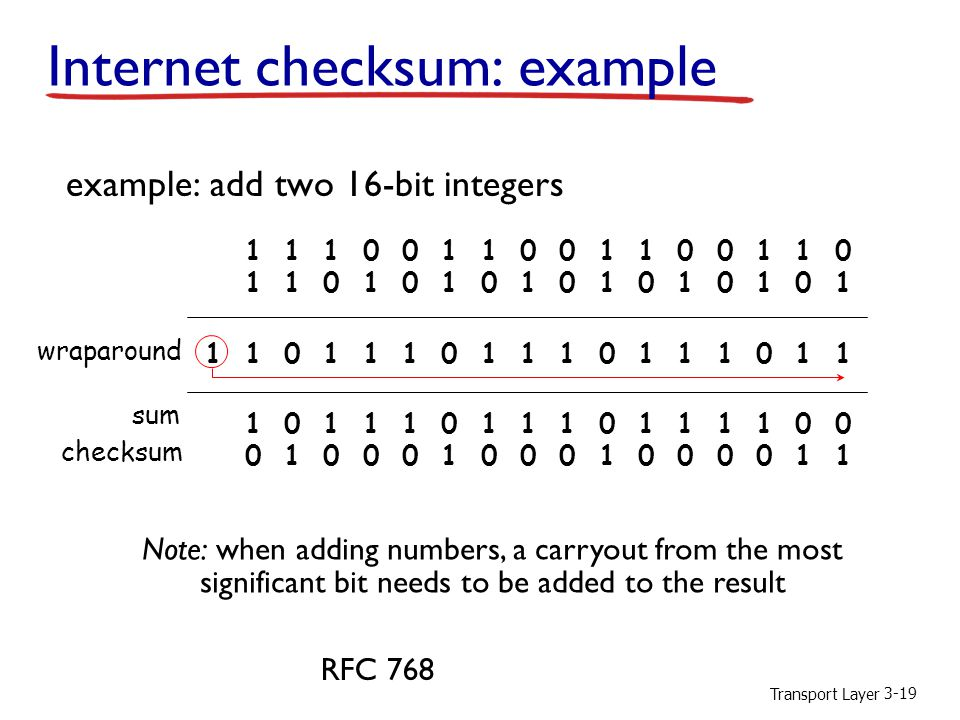 Internet checksum: example