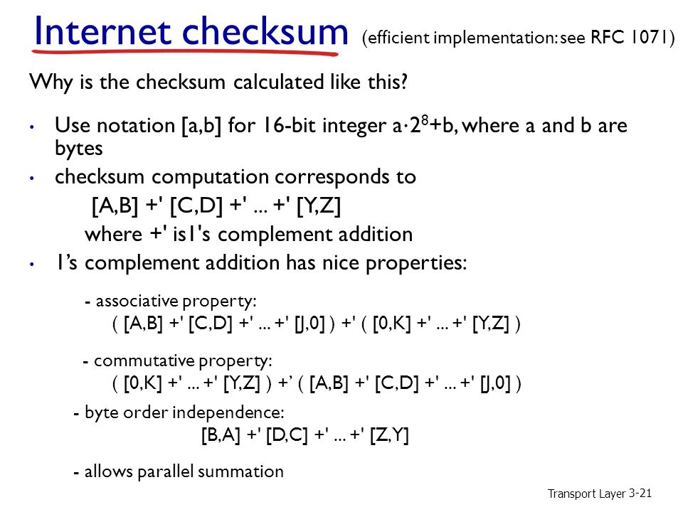 Internet checksum Why is the checksum calculated like this