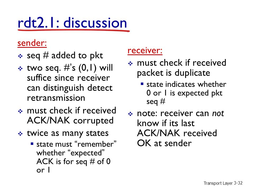 rdt2.1: discussion sender: seq # added to pkt receiver: