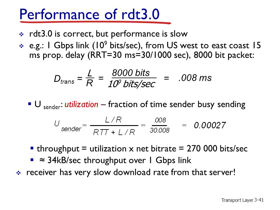 Performance of rdt3.0 rdt3.0 is correct, but performance is slow