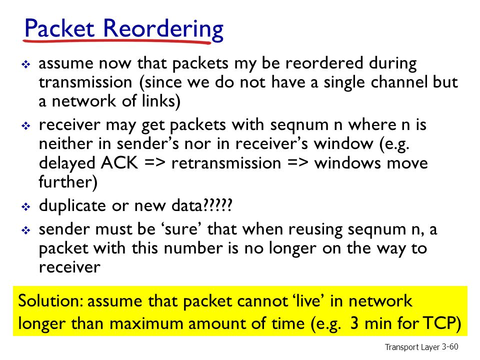 Packet Reordering assume now that packets my be reordered during transmission (since we do not have a single channel but a network of links)