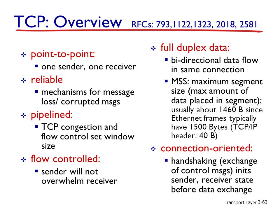 TCP: Overview RFCs: 793,1122,1323, 2018, 2581 full duplex data: