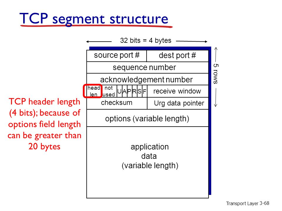 TCP segment structure TCP header length (4 bits); because of
