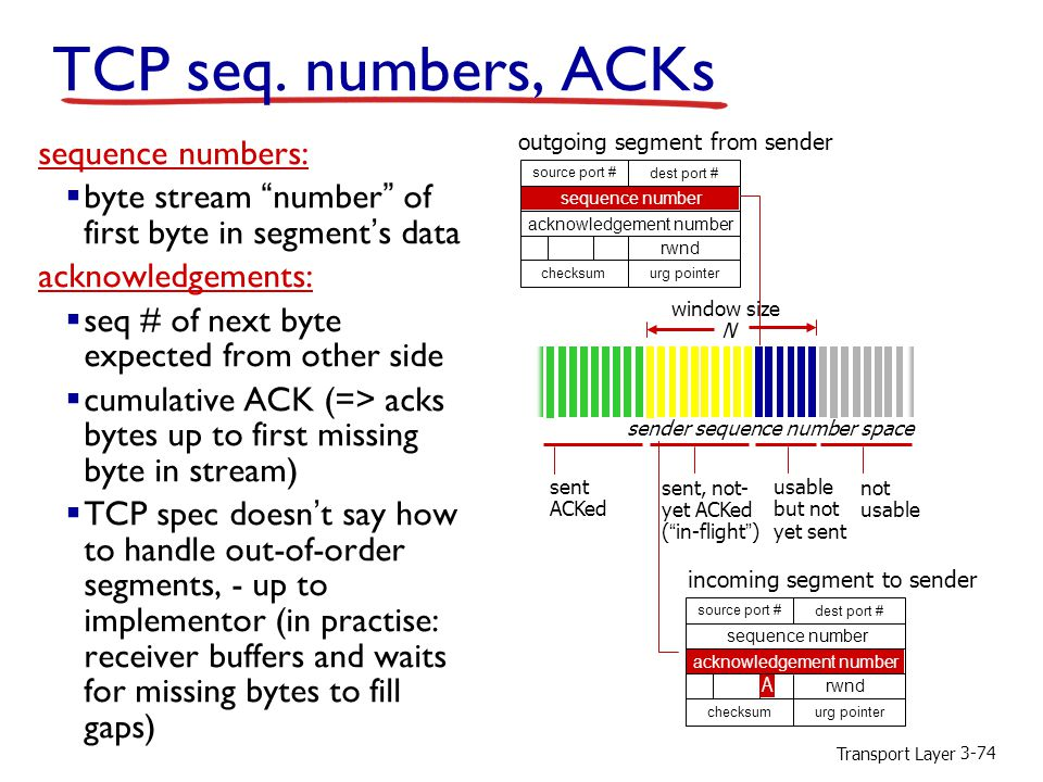 TCP seq. numbers, ACKs sequence numbers: