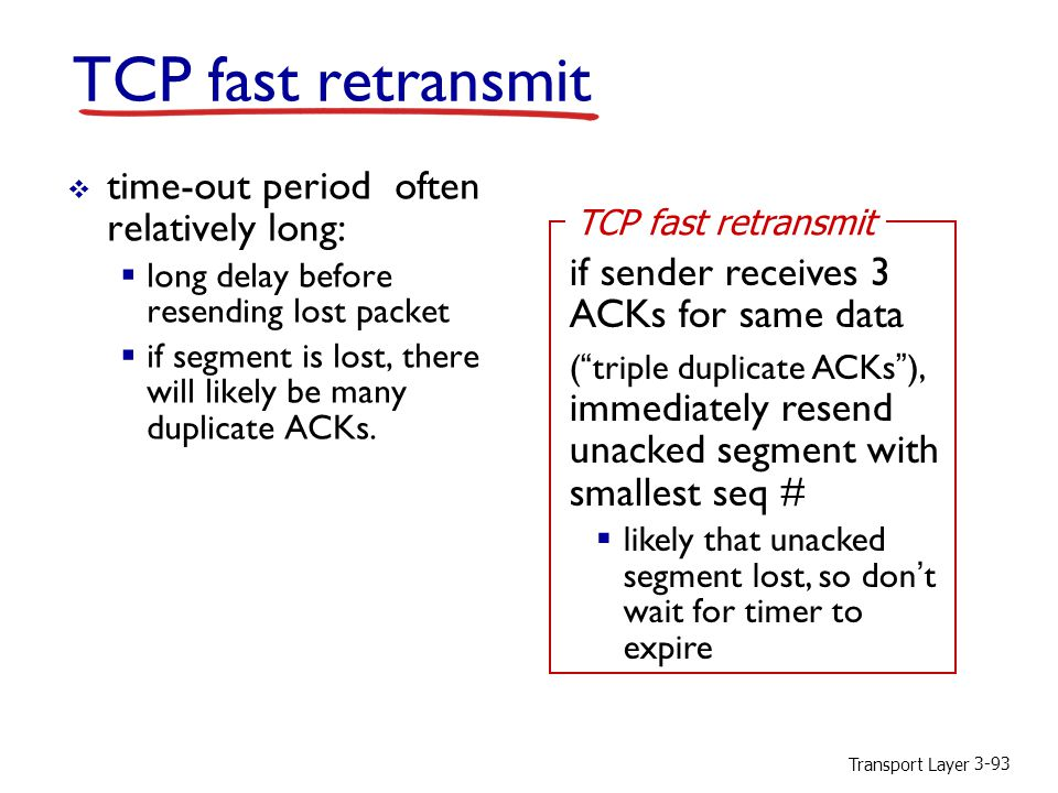 TCP fast retransmit time-out period often relatively long: