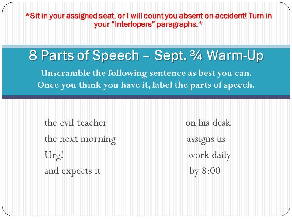 8 Parts of Speech – Sept. ¾ Warm-Up