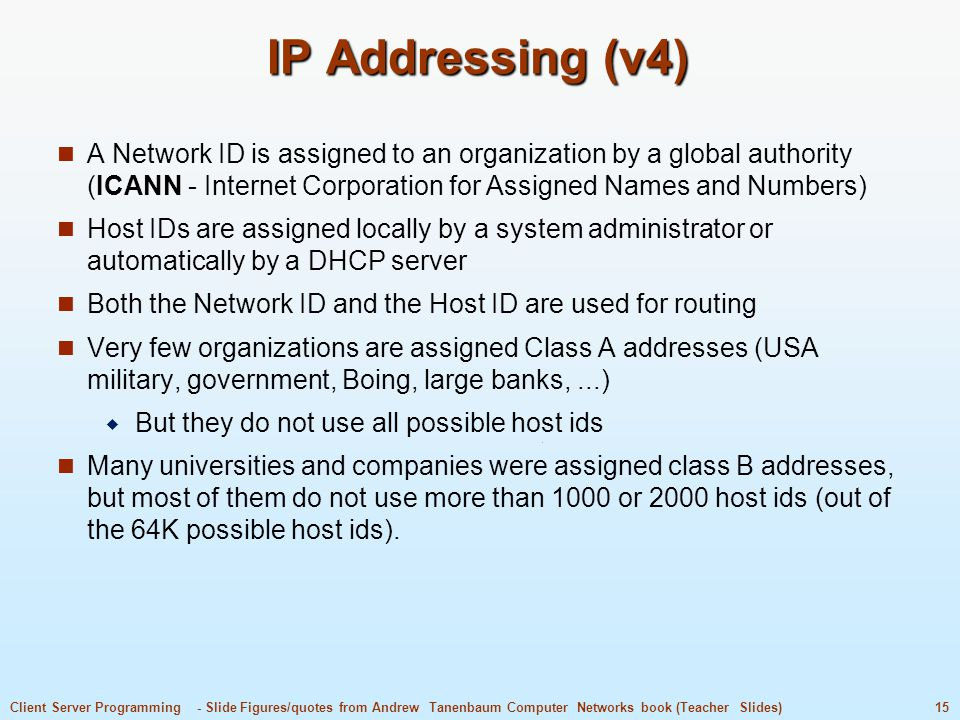 IP Addressing (v4) A Network ID is assigned to an organization by a global authority (ICANN - Internet Corporation for Assigned Names and Numbers)