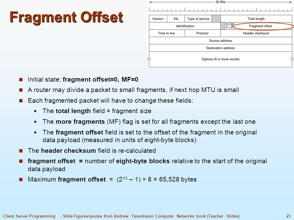 Fragment Offset Initial state: fragment offset=0, MF=0