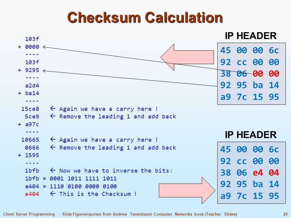 Checksum Calculation IP HEADER 45 00 00 6c 92 cc 00 00 38 06 00 00