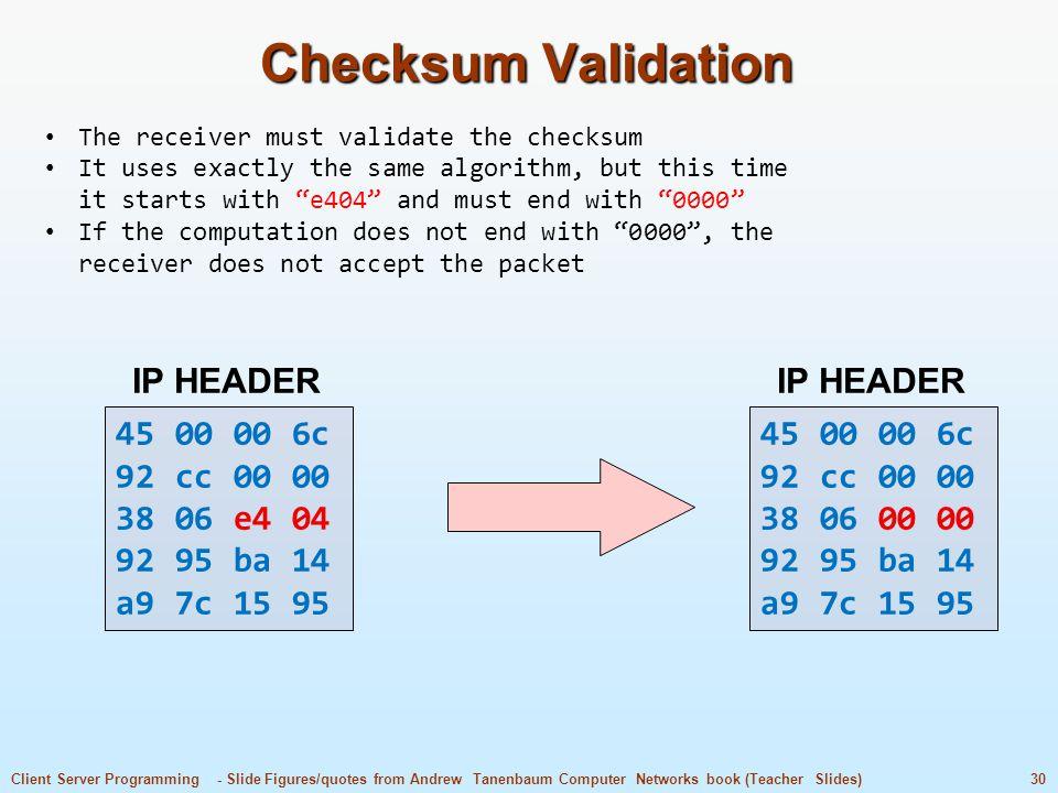Checksum Validation 45 00 00 6c 92 cc 00 00 38 06 e4 04 92 95 ba 14